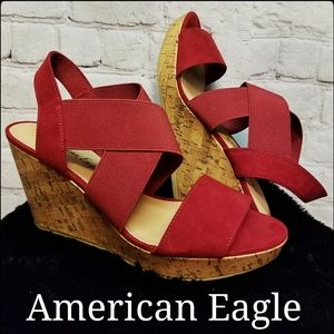 Adorable Red Strappy Wedges by American Eagle, 8M